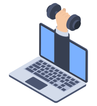 laptop with hand holding weight graphic