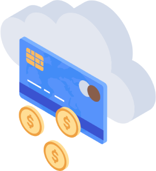 credit card and coins overlaid against cloud