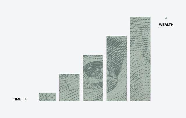 rising bar chart with imprint of George washing dollar